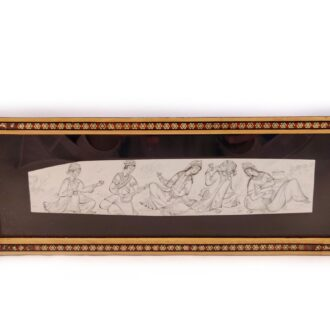 MT-125_ Persian miniature with Marquetry wooden frame_ 1 kom (2)