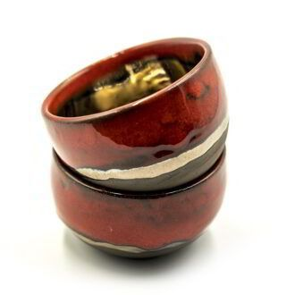 GC 132_Cute minimalistic red-golden small pottery cup (1)