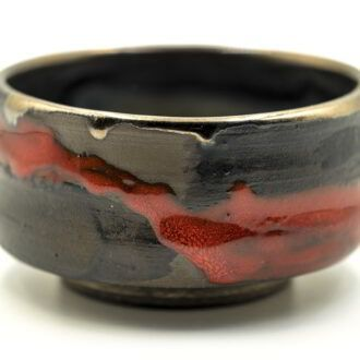 GC 140_Red Chawan, Japanese style Matcha tea pottery bowl_1 kom (2)